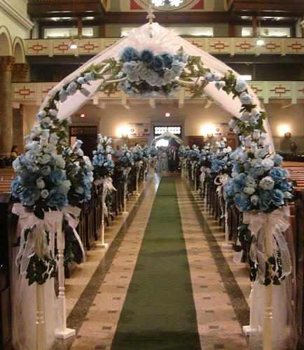 Church Wedding Arch Decorations: Wedding Church Decorations With Blue Flowers